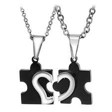 2pcs stainless steel puzzle heart
