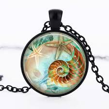 nautilus shell photo black dome glass cabochon necklace chain pendant 337