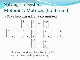 8 solving the system method 1 matrices
