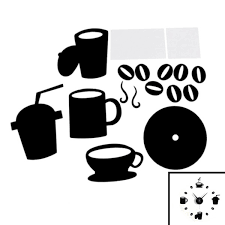 whole diy modern home decoration large coffee cup decal kitchen wall clocks silent watch decals black