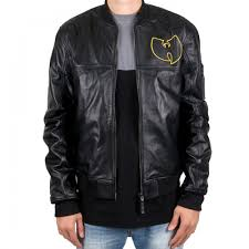 exclusive mens leather jacket from american rap brand wu wear with many wu tang logos