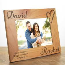 personalised love heart wooden frame for