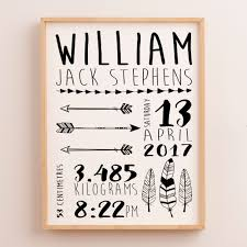 baby boys tribal birth announcement nursery wall art print monochrome feathers and arrows  on personalised baby boy wall art with birth details print baby birth details wall art personalised