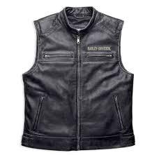 harley davidson reg men s passing link leather vest charcoal grey