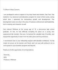 Scholarship Recommendation Letter From Professor Letter Of