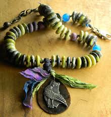 artisan beaded necklace of yellow turquoise by gloria ewing