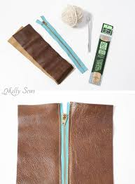 supplies make a knit and leather zipper pouch combine sewing and knitting in this