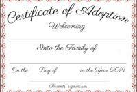 Pet Adoption Certificate Template Adoption Certificate Template Free Download