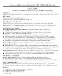 Experienced Teacher Resume Elementary Teachers Resume Samples