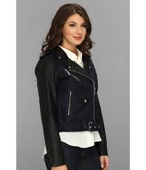 michael kors jacke faux leather trim soft michael kors jacket asymmetric moto leather