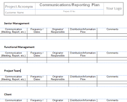 Project Team Communication Plan Template