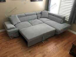 foreman contemporary style gray flannelette fabric pull out sectional sofa bed w adjustable headrests tap to expand