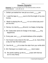 Phonics worksheets and free printable phonics workbooks for kids. Vowel Digraphs Worksheet With Images Worksheets Money Management Graphing Calculator Tool Vowel Digraphs Worksheets Worksheets Times Table Sums Worksheets Grade 6 Math Lessons Graph Maker Using Equation Sample Of Integers Math Multiplication