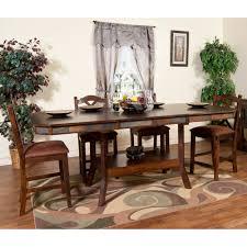 santa fe wood double leaf gathering table stools in dark chocolate