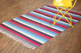 4 x6 handmade striped cotton rug blue grey red stripes flat weave