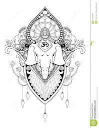 Ganesha Mandala Oriental Drawing Tattoo Stock Illustration