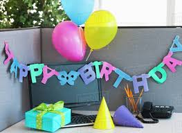 office party decorations. Close Up Of Birthday Decorations On Office Desk Party
