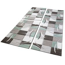bed border runner rug contour cut checked pattern green runner set 3 piece