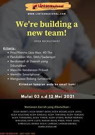 Jadilah bagian dari winning team kami dengan posisi : Loker Aceh Tenggara 2020