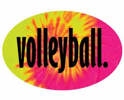 Volleyball Word Tie Dye Black Volleyball Word Vinyl Adhesive Oval Decals