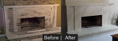 brick fireplace before after faux finish