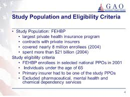4 4 study population and eligibility criteria study population fehbp largest private health insurance