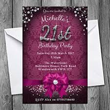 21st birthday party invitations bow sparkle pack of 24 6 colours