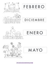 Free Printable of Spanish months (January, February, December, May ...