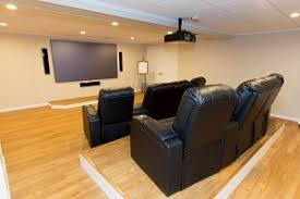 home theater in basement. basement theater installed in albany home