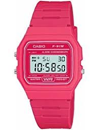 watches outlet amazon co uk casio f 91wc 4aef digital watch pink resin strap