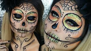 glitter sugar skull makeup tutorial makeup glamoween easy makeup beautybyjosiek