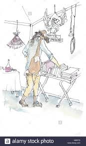 a watercolor painting of a woman browsing on book fair of flea market