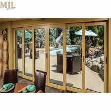 modern wood glass design front aluminium sliding doors