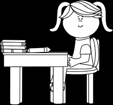 desk clipart black and white. black and white school girl sitting at a desk clipart