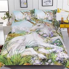white horse bedding sets 3d unicorn printed comforter cover king queen twin sizes girls kids duvet cover sets home textile toddler bedding set navy blue