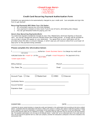 credit card recurring payment authorization form page 1