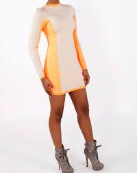 Neon Designer Dress Designer Charles L Neon Color Block Body Dress
