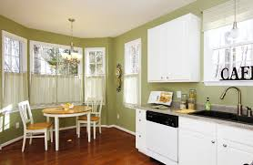white brown colors kitchen breakfast. Exciting Green Wall Design With Dark Laminate Floor And Window Drapery Curtains Also Beautiful Windows White Brown Colors Kitchen Breakfast B