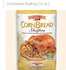 pepperidge farm corn bread stuffing add sage sausage celery onions cook in oven according to package directions cut celery onions day ahead