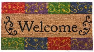 Coir Welcome Flourish Rubber Backed Doormat - 16 x 28