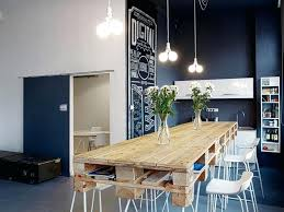 compact office kitchen modern kitchen. Charming Vintage Office Kitchen Style With Pallet Wood Dining Table Also Blue Wall Paint Ideas Small Space Compact Modern I