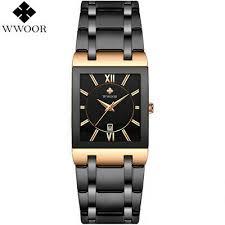 <b>WWOOR Mens</b> Watches <b>Top Brand</b> Luxury Gold Square Quartz ...