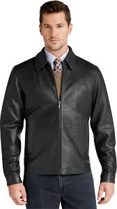 popular signature collection traditional fit leather jacket in black for jos a bank leather jackets