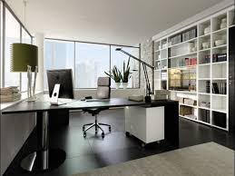 Large white office desk Small Home Office White Themed Cool Home Office Design With Elegant Black Wood Shaped Office Desk On The Dark Tiles Also Large White Wood Storage Bookcase Furniture Also Doragoram White Themed Cool Home Office Design With Elegant Black Wood