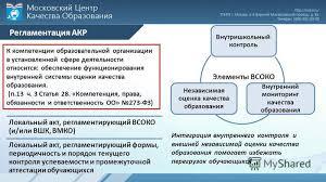 Презентация на тему Ладыгина С А начальник отдела Московского  3 Регламентация АКР Внутришкольный контроль Внутренний мониторинг качества образования Независимая оценка