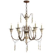 percival small chandelier in natural rusted iron and old white wood