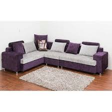 Buy L Shaped Sofa Set in purple and white colour Online Get 0 Off