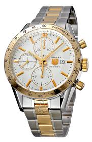 tag heuer cv2050 bd0789 carrera silver dial 18k yellow gold and tag heuer men s carrera watch
