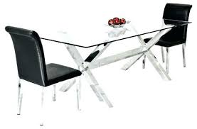 chrome dining table and chairs glass small set simple crossly rectangular leather room w
