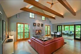 vaulted ceiling lighting. Vaulted Ceiling With Exposed Beams Beam Lighting Living Room Contemporary Wood Flooring Sloped Wall Art Cathedral N